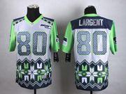 Mens Nfl Seattle Seahawks #80 Steve Largent Blue&gray&green 2015 Noble Fashion Elite Jersey