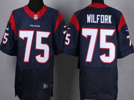 Mens Nfl Houston Texans #75 Wifork Blue Elite Jersey