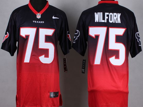 Mens Nfl Houston Texans #75 Wilfork Blue&red Drift Fashion Ii Elite Jersey