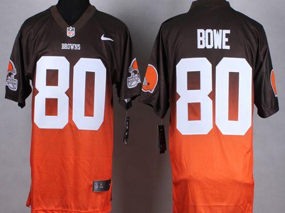 Mens Nfl Cleveland Browns #80 Bowe Brown&orange Drift Fashion Ii Elite Jersey