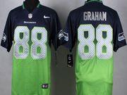 Mens Nfl Seattle Seahawks #88 Graham Blue&green Drift Fashion Ii Elite Jersey