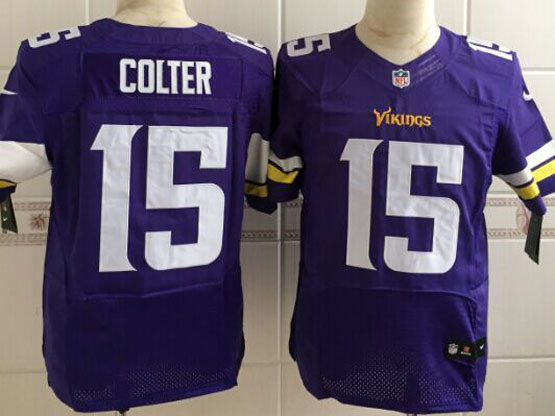 Mens Nfl Minnesota Vikings #15 Colter Purple Elite Jersey
