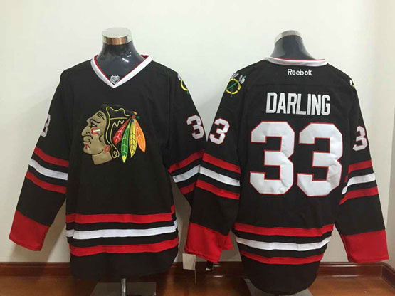 Mens Reebok Nhl Chicago Blackhawks #33 Darling (full Black) 3rd Jersey Sn