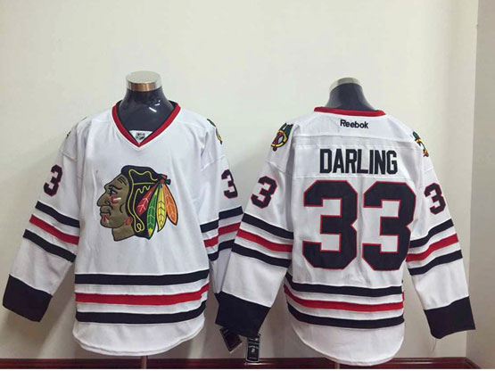 Mens Reebok Nhl Chicago Blackhawks #33 Darling White Jersey Sn