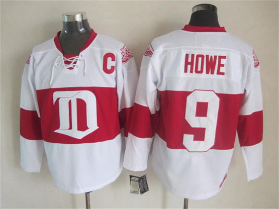 Mens nhl detroit red wings #9 howe white 2014 alumni showdown throwbacks Jersey