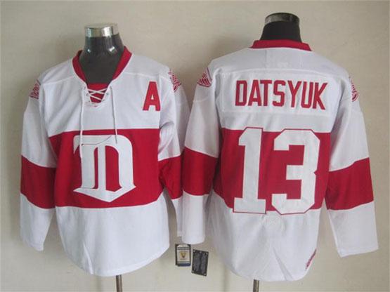mens nhl Detroit Red Wings #13 Pavel Datsyuk white 2014 alumni showdown throwbacks jersey