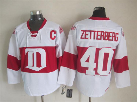 Mens nhl detroit red wings #40 zetterberg white 2014 alumni showdown throwbacks Jersey