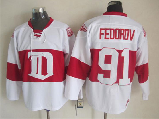 Mens nhl detroit red wings #91 fedorov white 2014 alumni showdown throwbacks Jersey