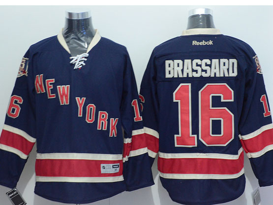 Mens reebok nhl new york rangers #16 brassard dark blue 85th Jersey