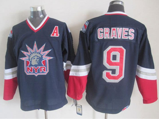 Mens nhl new york rangers #9 graves dark blue (logo patch) throwbacks Jersey