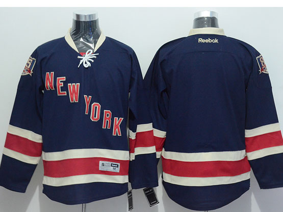 Mens reebok nhl new york rangers blank dark blue 85th Jersey