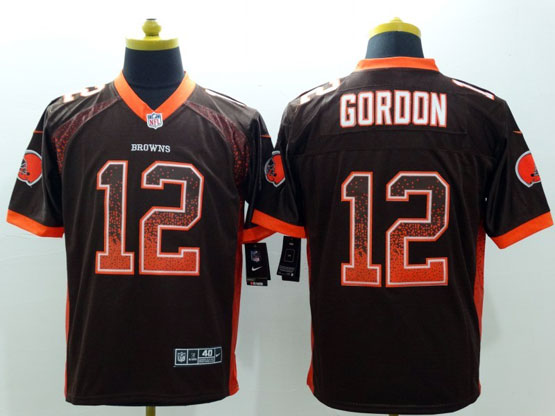 Mens Nfl Cleveland Browns #12 Gordon Drift Fashion Brown Elite Jersey