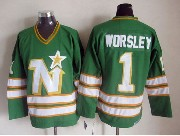 Mens Nhl Dallas Stars #1 Worsley Full Green Throwbacks Ccm Jersey Dt