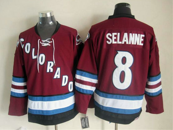 Mens nhl colorado avalanche #8 selanne red throwbacks Jersey