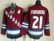 Mens nhl colorado avalanche #21 forsberg red throwbacks Jersey