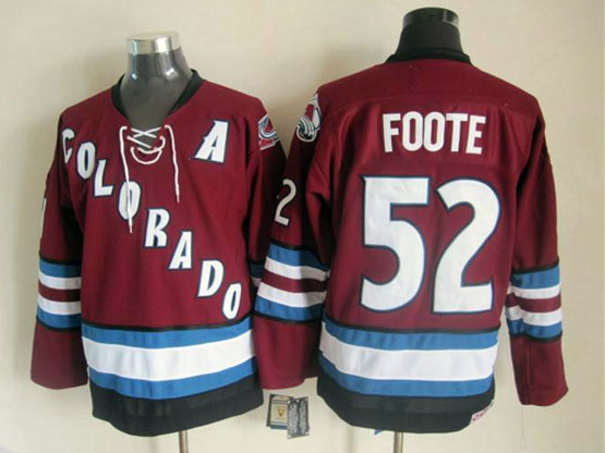 Mens nhl colorado avalanche #52 foote red throwbacks Jersey