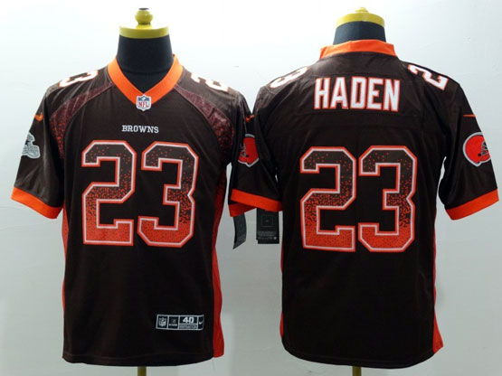 Mens Nfl Cleveland Browns #23 Haden Drift Fashion Brown Elite Jersey