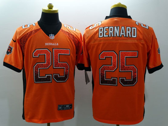 Mens Nfl Cincinnati Bengals #25 Bernard Drift Fashion Orange Elite Jersey