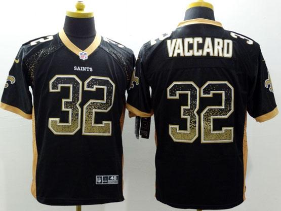 Mens Nfl New Orleans Saints #32 Vaccaro Black Drift Fashion Elite Jersey