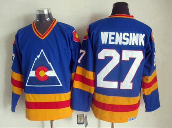 Mens nhl colorado rockies #27 wensink blue throwbacks Jersey