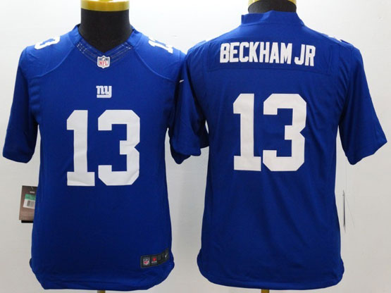 youth nfl New York Giants #13 Odell Beckham Jr blue limited jersey