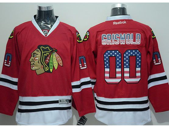 Mens reebok nhl chicago blackhawks #00 griswold (usa flag fashion) red Jersey