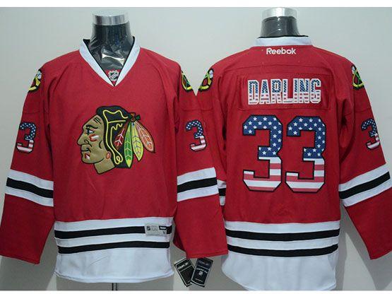 Mens Reebok Nhl Chicago Blackhawks #33 Darling (usa Flag Fashion) Red Jersey Sn