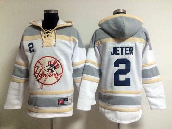 Mens Mlb New York Yankees #2 Jeter White&gray (team Hoodie) Jersey