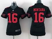 Women  Nfl San Francisco 49ers #16 Montana Black Game Jersey