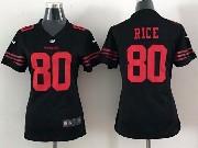 Women  Nfl San Francisco 49ers #80 Rice Black Game Jersey