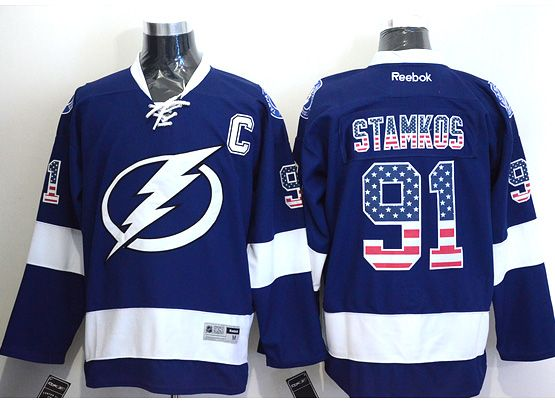 Mens reebok nhl tampa bay lightning #91 stamkos blue (usa flag fashion) Jersey