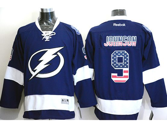 Mens reebok nhl tampa bay lightning #9 johnson blue (usa flag fashion) Jersey