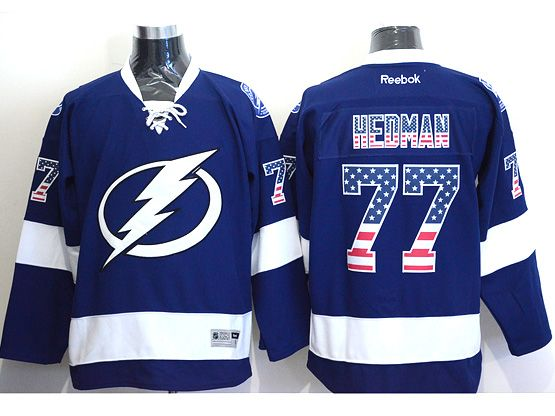Mens reebok nhl tampa bay lightning #77 hedman blue (usa flag fashion) Jersey