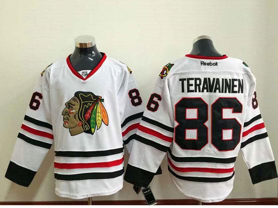 Mens reebok nhl chicago blackhawks #86 teravainen white (2014 new) Jersey