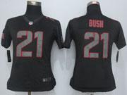 Women  Nfl San Francisco 49ers #21 Bush Black Impact Limited Jersey Sn