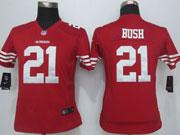 Women  Nfl San Francisco 49ers #21 Bush Red Game Jersey Sn