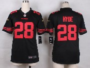 Women  Nfl San Francisco 49ers #28 Hyde Black Game Jersey