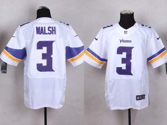 Mens Nfl Minnesota Vikings #3 Walsh White Elite Jersey