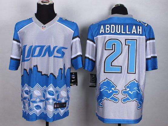 Mens Nfl Detroit Lions #21 Abdullah Blue&white 2015 Noble Fashion Elite Jersey