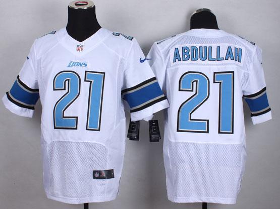 Mens Nfl Detroit Lions #21 Abdullah White Elite Jersey