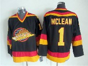 Mens nhl vancouver canucks #1 mclean black throwbacks Jersey