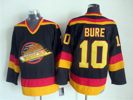 Mens nhl vancouver canucks #10 bure black throwbacks Jersey