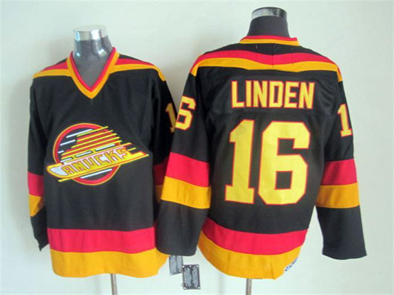 Mens nhl vancouver canucks #16 linden black throwbacks Jersey