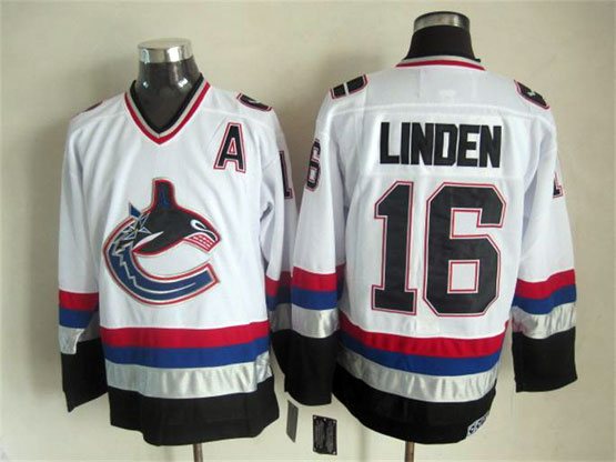 Mens nhl vancouver canucks #16 linden white throwbacks Jersey