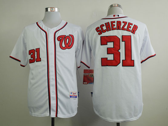 Mens mlb washington nationals #31 scherzer white Jersey