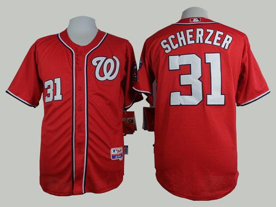 Mens mlb washington nationals #31 scherzer red Jersey