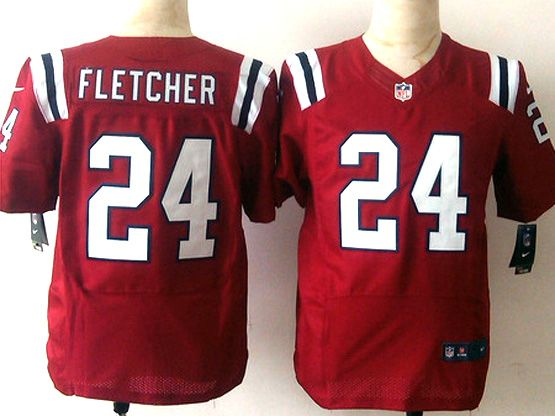 Mens Nfl New England Patrio #24 Fletcher Red Elite Jersey