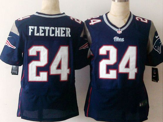 Mens Nfl New England Patrio #24 Fletcher Blue Elite Jersey