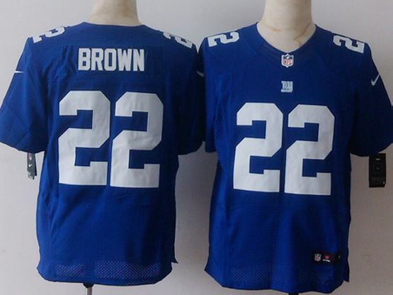 Mens Nfl New York Giants #22 Brown Blue Elite Jersey Sn