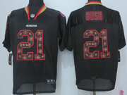 Mens Nfl San Francisco 49ers #21 Bush New Lights Out (flower Number) Black Elite Jersey Sn